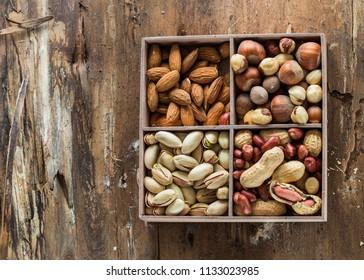 Different types of nuts. Walnut,  peanuts, , almonds ,