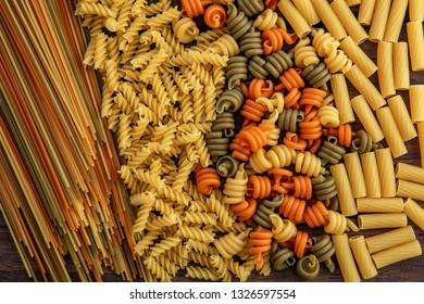Different types of pasta. Top view image