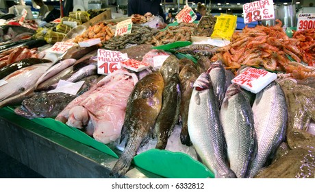 Different types of seafood in the fish market