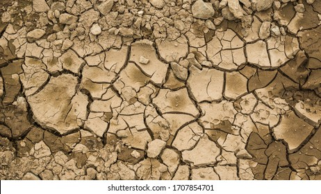 Different types of soil show the signs of dryness