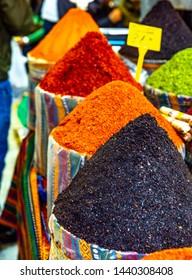 Different types of spices on Jerusalem market in Israel.Jerusalem Market