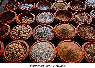 different types of stone, sand and soil for growing plant in pots