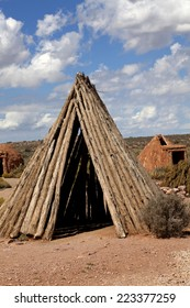 Different types of sweat lodges builted by Native Americans who live in the mountains of northwestern Arizona, United States.