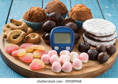 Different types of sweet foods, and a device for measuring blood glucose, sweet abuse, the threat of diabetes, the concept of limiting sweet