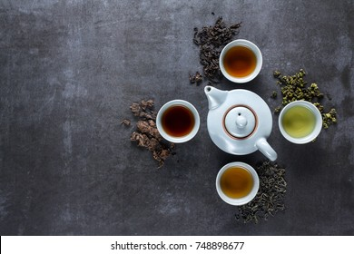 Different types of tea for ceremony, top view, free space