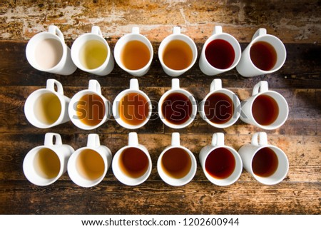 Different Types Tea Lined Grid Cups Stock Photo Edit Now