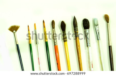 Different Types Watercolor Paintbrushes On White Stock Photo Edit