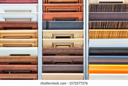 Different types of wooden materials for a kitchen - example set for furniture manufacture. Photo with selective focus
