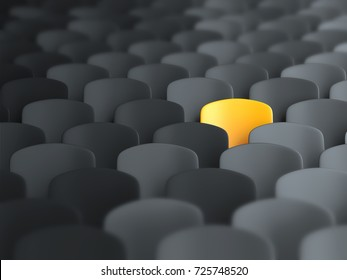 Different, unique and standing out of the crowd yellow chair. 3D Illustration