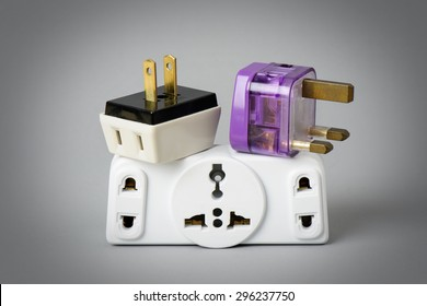 Different universal plug adapters, travel adapters