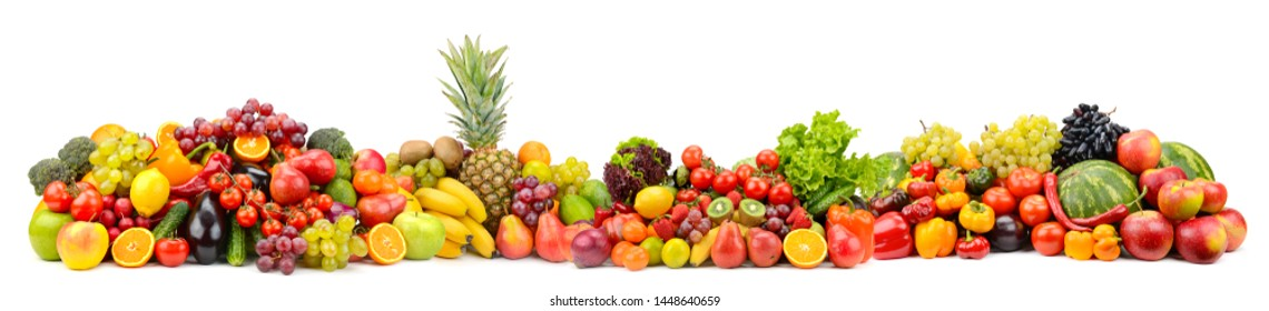Different useful fruits and vegetables isolated on white background. Glass skinali.