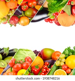Different useful fruits and vegetables isolated on white background. Collage. Free space for text.
