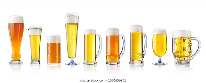 different varieties of beer in different glasses isolated on white