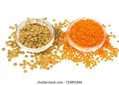 Different varieties of lentils in glass. Studio photo