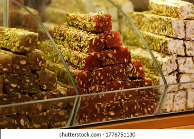 Different varieties of Lokum, Turkish Delights, are seen at the iconic Spice bazaar in Istanbul, Turkey. The confections are made with honey, fruit, pistachio, tahini, hazelnut, coconut etc.