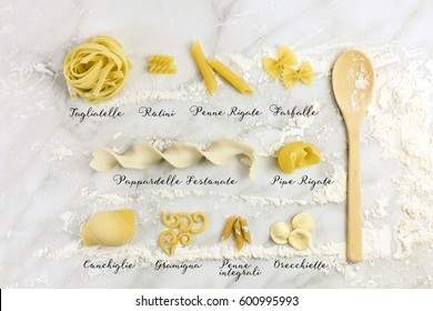 Different varieties of pasta with their names written, shot from above on a white marble table with flour and a wooden ladle. Pasta sorts list poster