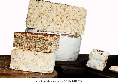 different varieties of white nougat with nuts. A specialty in France