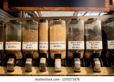 Different variety of birdseed are available at this bulk station