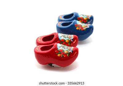 Different Variety Dutch clogs with Holland isolated over white