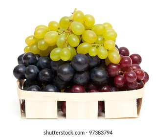 different variety of grape on white background