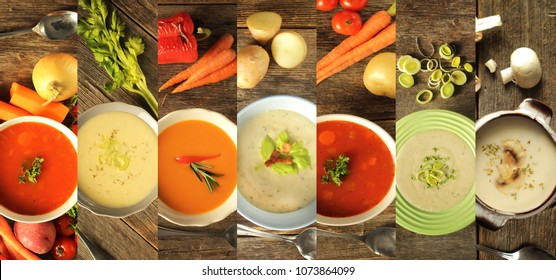 Different variety of soup and veggies on wooden background. Tomato, celery, asparagus, leek, vegetable, and mushroom