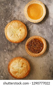 Different various types of mini pies background