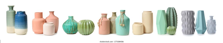 Different vases on white background