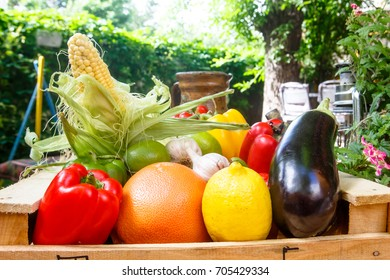 Different vegetables and fruits: orange, lemon, corn, eggplant, peppers, zucchini lying in a wooden box. The new harvest.