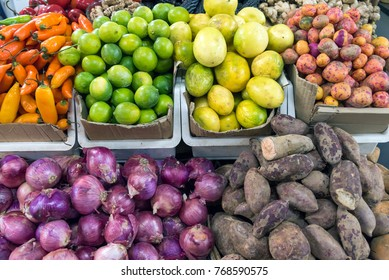 Different vegetables and fruits for sale at a market in Santiago, Chile