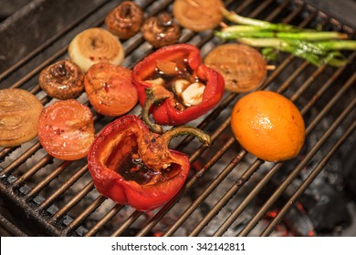 Different vegetables on the grill preparing