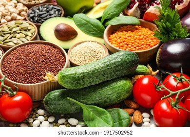 Different vegetables, seeds and fruits, closeup. Healthy diet