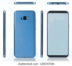 Different view of blue color smartphone isolated opn white background