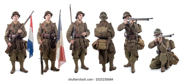different view of a french soldier 1940  wwii isolated on the white background