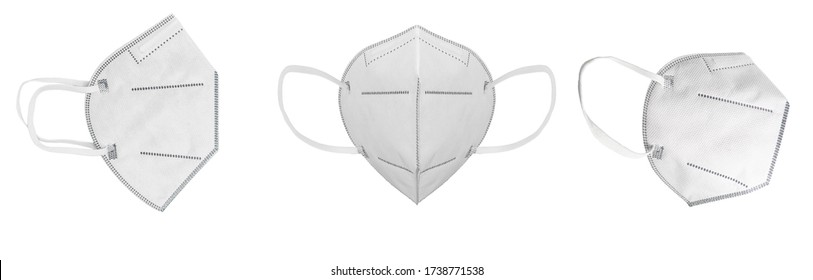 Different viewing angles of mask with earloop, FFP2 with N95 - KN95 protection. Face mask FFP3 for protecting yourself and others from Covid-19. Without breathing valve.