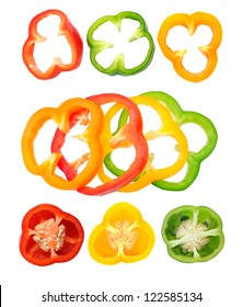 different views of bell peppers isolate on white background