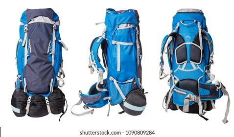 Different views of blue backpack for hiking isolated on white background. professional backpack for hiking trips with sleeping bag. Outfit for hikes. Trekking bag for sport leisure activity