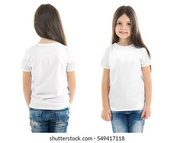 Different views of little girl wearing t-shirt on white background