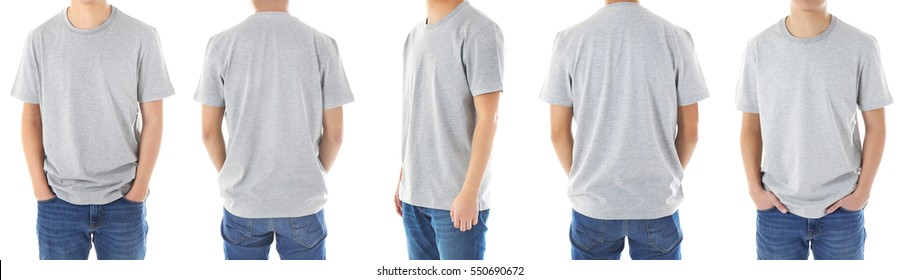 Different views of man wearing t-shirt on white background