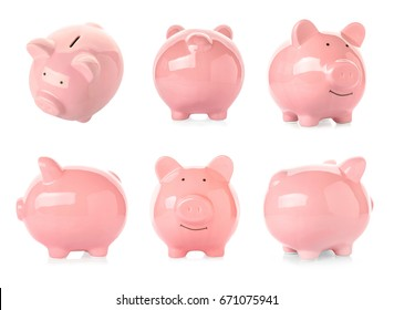 Different views of piggy bank on white background