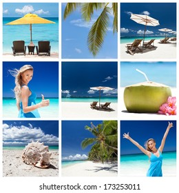 Different views from tropical beach. Travel collage