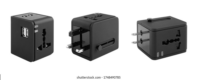 Different views of universal adapter isolated on white with clipping path