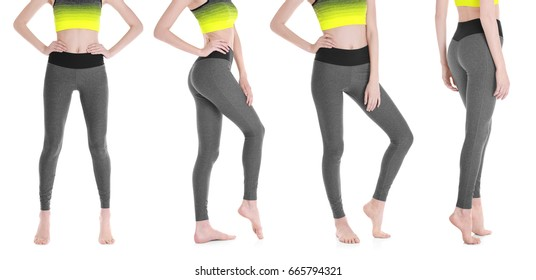 Different views of young woman in sport pants on white background