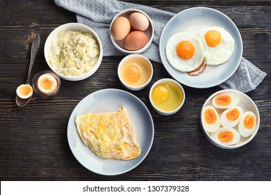 Different Ways to Cook Eggs on dark wooden background. Top view