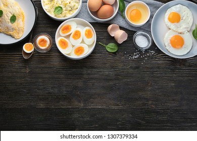Different Ways to Cook Eggs on dark wooden background. Top view with copy space