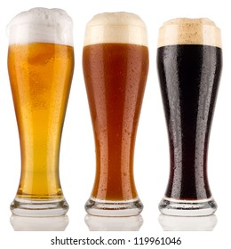 different wheat beer in front of white background