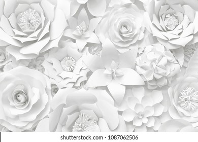 Different white hand made paper flower decorative wedding background