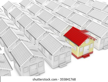 Different white house and one red house, 3d rendered picture. metaphor of search house, property, village etc.