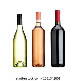 different wine bottles on white background
