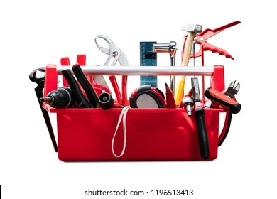 Different Worktools In Red Toolbox On White Background