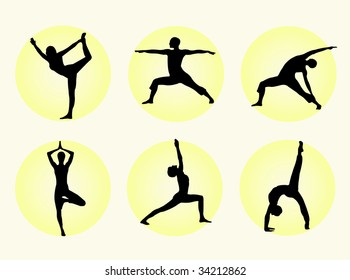 Different yoga poses in silhouette to represent meditation